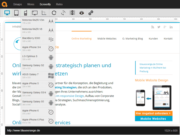 Website Test mit Screenfly