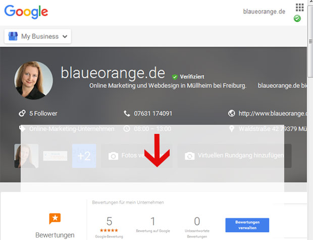 Google bewertung in Google MyBusiness