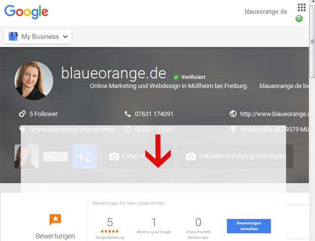 Google bewertung in Google MyBusiness