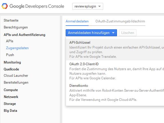 Google API Schluessel