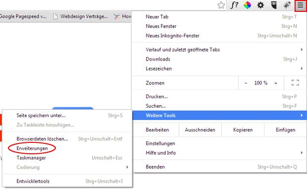 Google Chrome erweiterungen NAP
