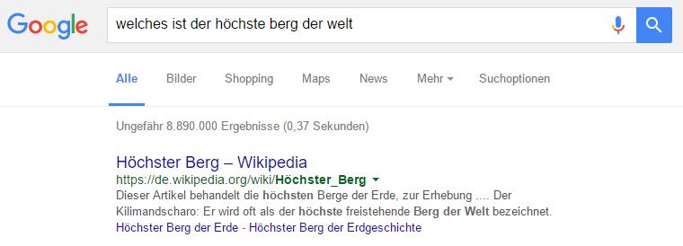 Google Antwort zu dem höchsten Berg der Welt
