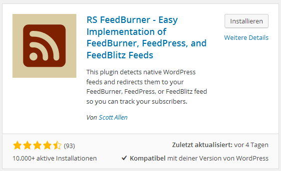 RSS FeedBurner Plugin