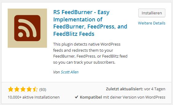 RSS FeedBurner Plugin