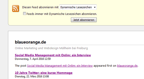 RSS Feed ohne Feedburner