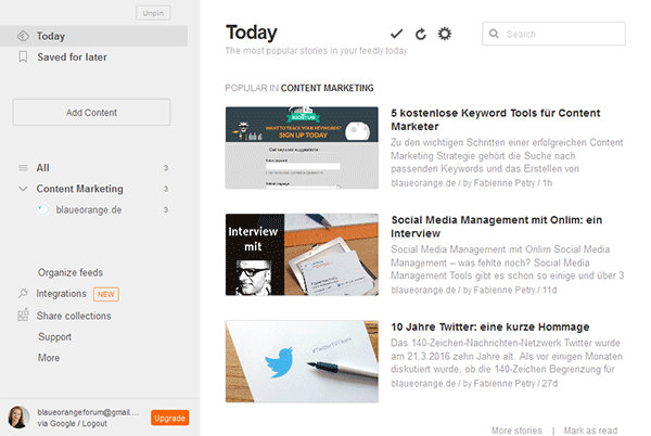 Eigene Feeds in Feedly