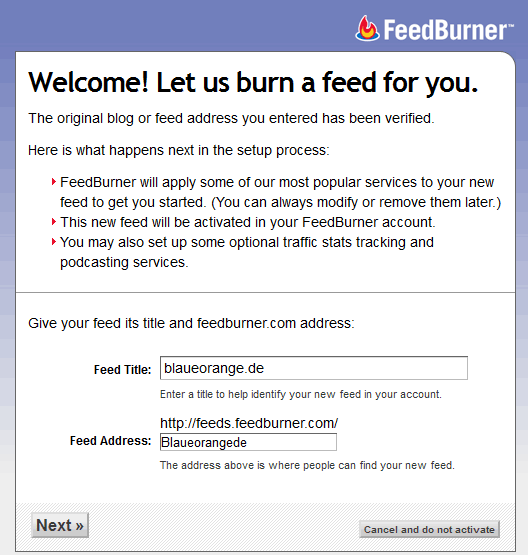 RSS Feed in Feedburner eintragen