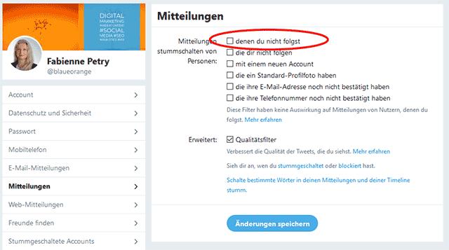 Twitter Mitteilungen FIlter anpassen