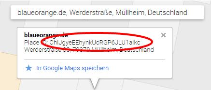 Erzeugte Google Places Orts ID