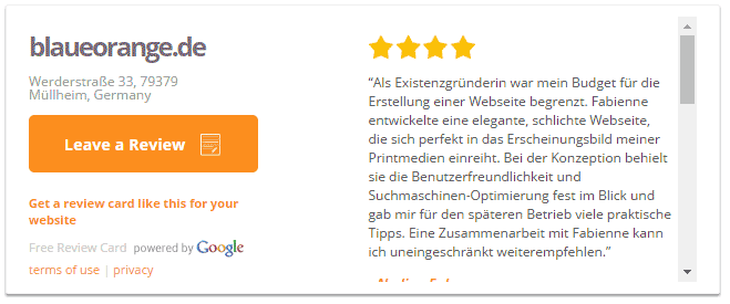 Google Bewertungen in eurer Website