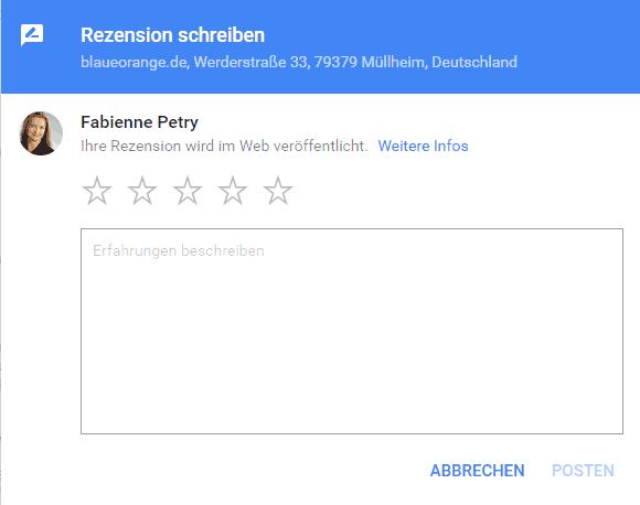 Neues Fenster zur Abgabe von Google Rezensionen