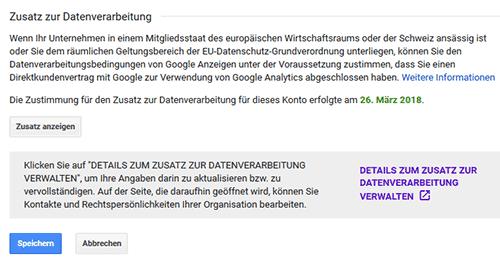 Google Analytics Zusatz zur Datenverarbeitung