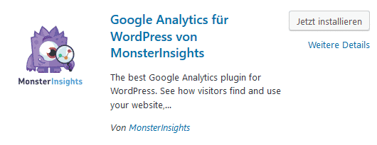 Google Analytics für WordPress von MonsterInsights