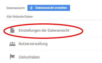 Google analytics tracking datenansicht