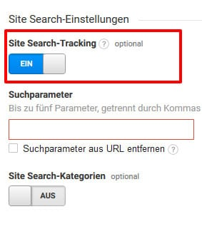 Google analytics site search tracking  aktivieren