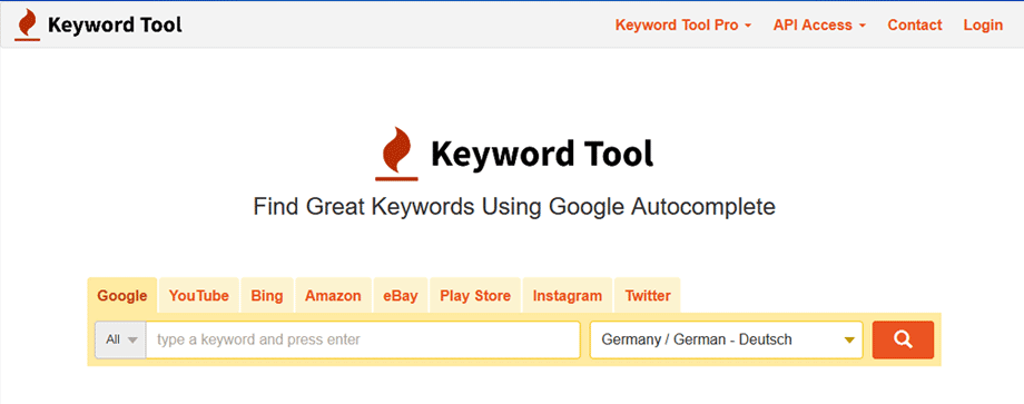 Keyword Recherche auf keywordtool.Io
